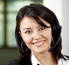 photo of an interpreter with a headset on a telephone call